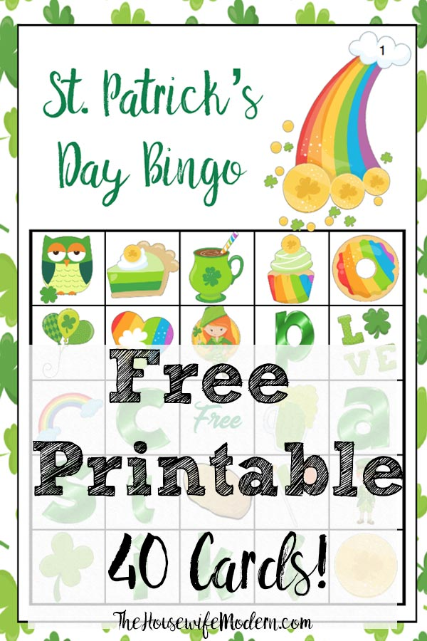 """Free Printable St. Patrick's Day Bingo. Plus an optional twist on how to play """"Lucky Bingo"""". 40 cards…enough for an entire class or changing cards. #bingo #free #printable #freeprintable #stpat #stpatrick"""