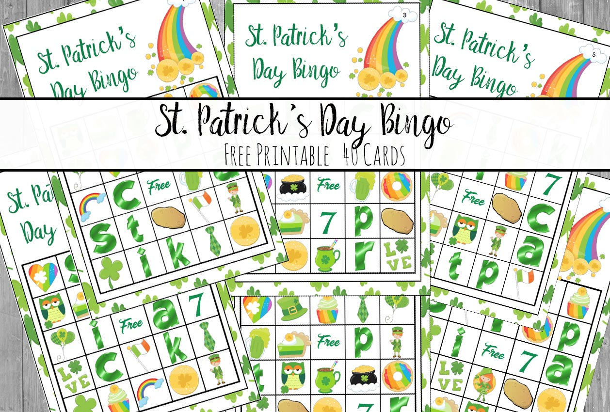 """Free Printable St. Patrick's Day Bingo. Plus an optional twist on how to play """"Lucky Bingo"""". 40 cards…enough for an entire class or changing cards."""
