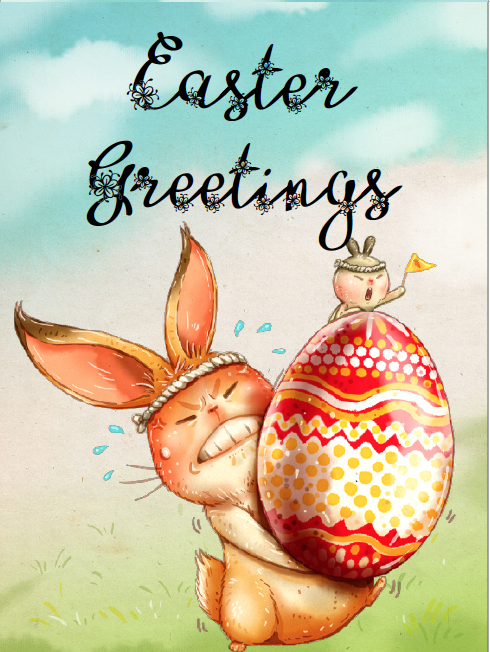 Easter bunny lifting heavy egg easter card. Free Printable Easter Cards. 4 different, adorable designs for everyone you know- children, friends, and family. #easter #card #eastercards