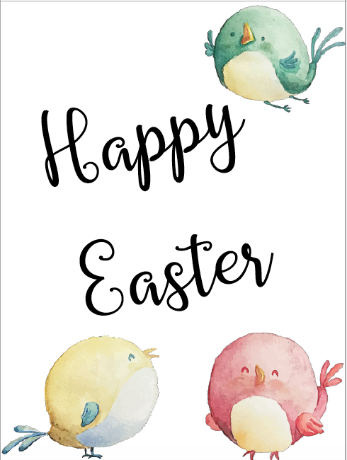 Little tweety birds easter card. Free Printable Easter Cards. 4 different, adorable designs for everyone you know- children, friends, and family. #easter #card #eastercards