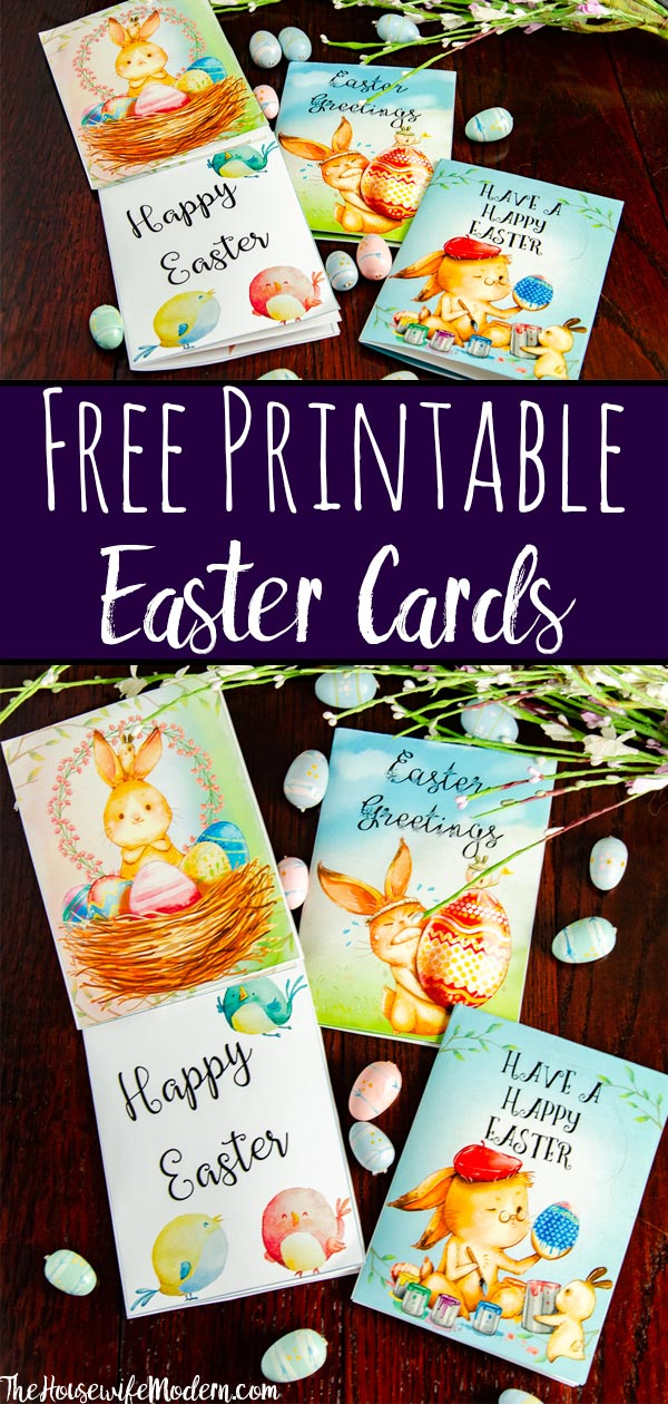 Free Printable Easter Cards. 4 different, adorable designs for everyone you know- children, friends, and family. #easter #card #eastercards