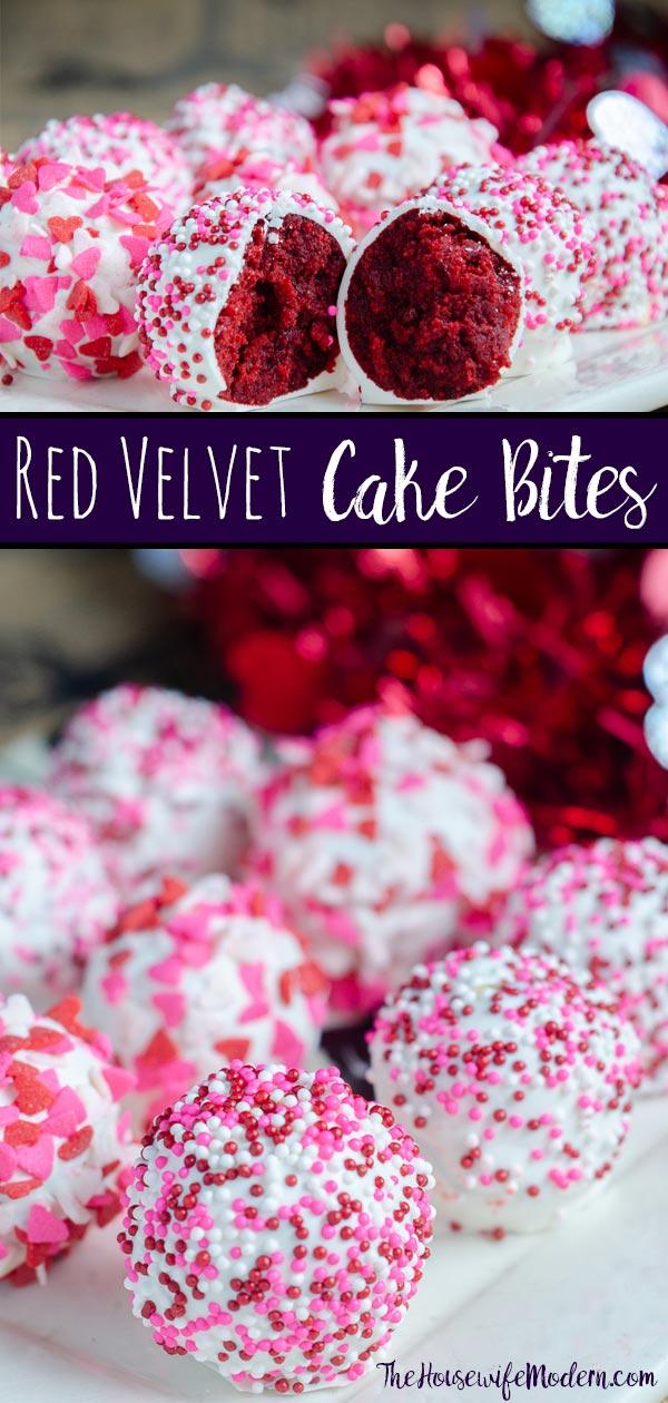 Red Velvet Cake Bites. Moist red velvet mixed with luscious white chocolate cream cheese frosting. A classy, beautiful dessert for all occasions. #redvelvet #cake #cakebites #cakepop