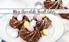 This mini chocolate bundt cake recipe is perfect for Easter. Made with a delicious chocolate batter and decorated with mini chocolate eggs.