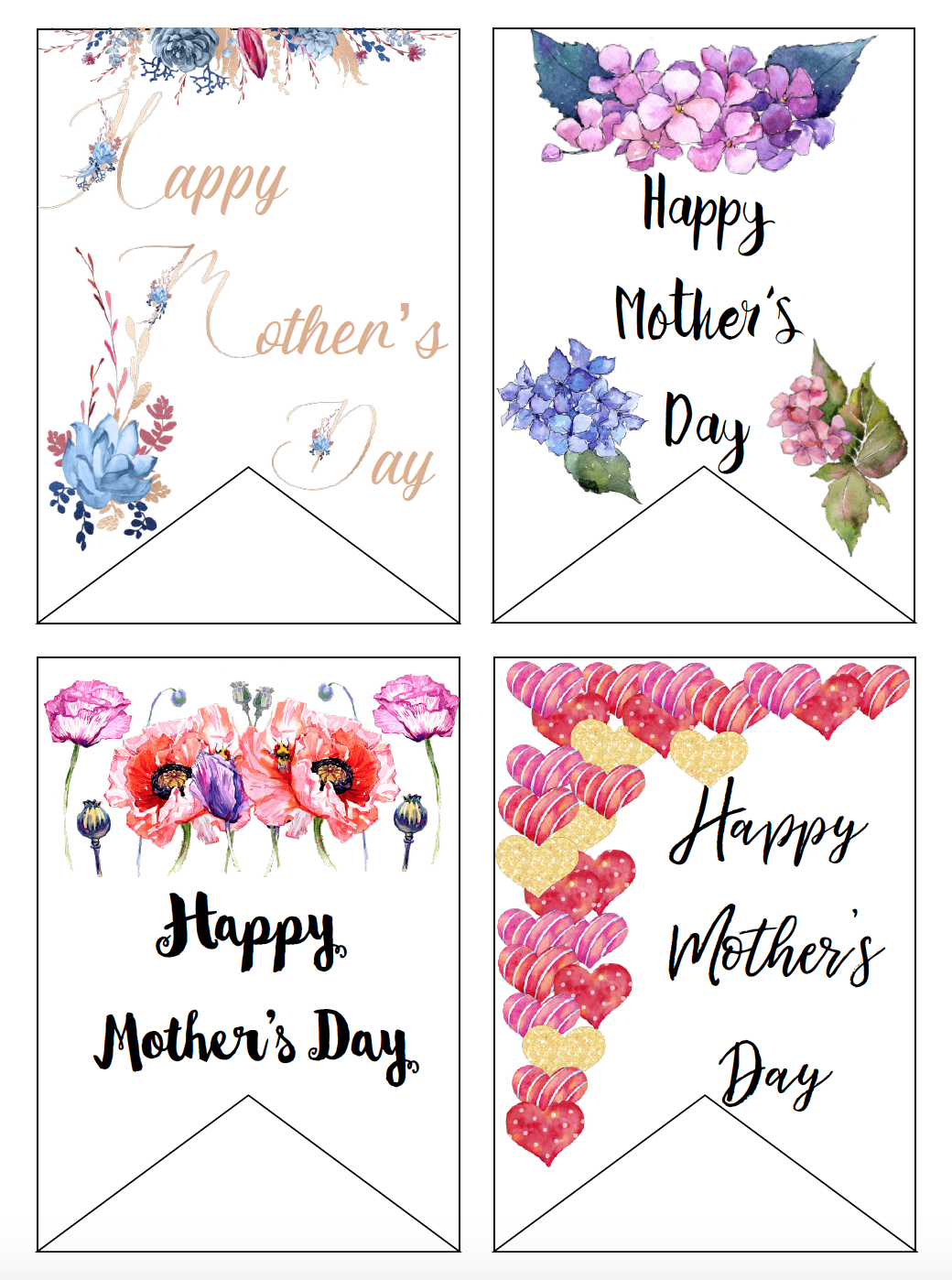 Gift Tags. Free Printable Mother's Day Cards and Gift Tags. 4 different designs. Give a beautiful card to mom. Comes with matching gift tag.