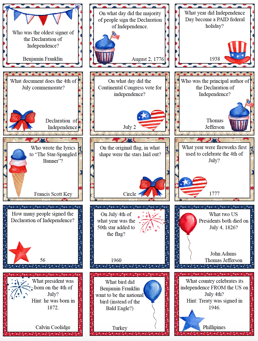 Free Printable 4th of July Trivia. Add some fun to any July 4th with free printable Fourth of July trivia. 30 patriotic questions. #free #printable #freeprintable #july4 #july4trivia #fourthofjulytrivia