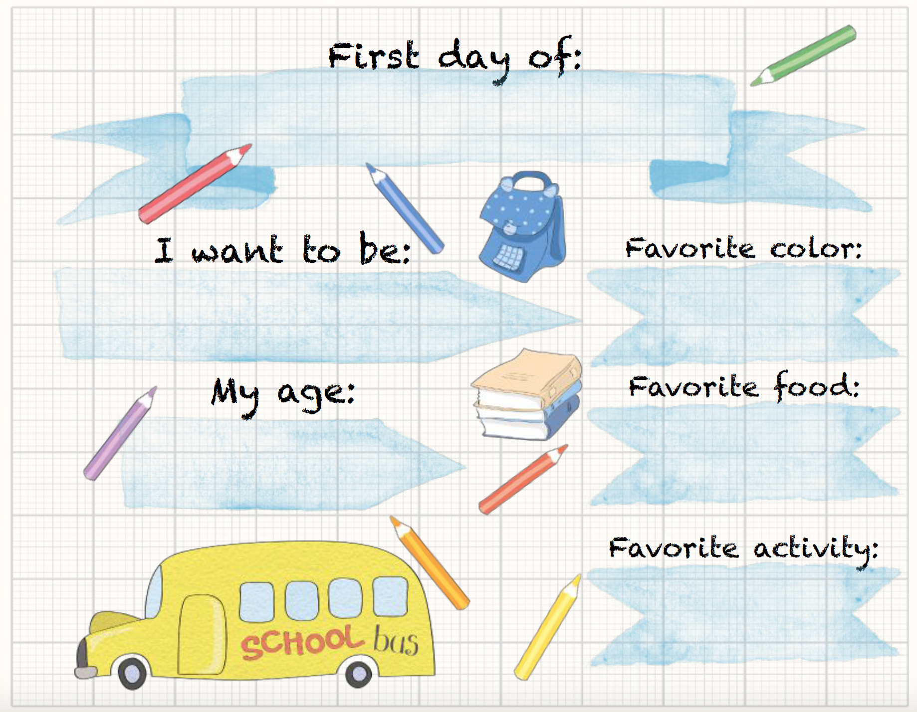 Free printable back to school sign. Grid paper with school designs.