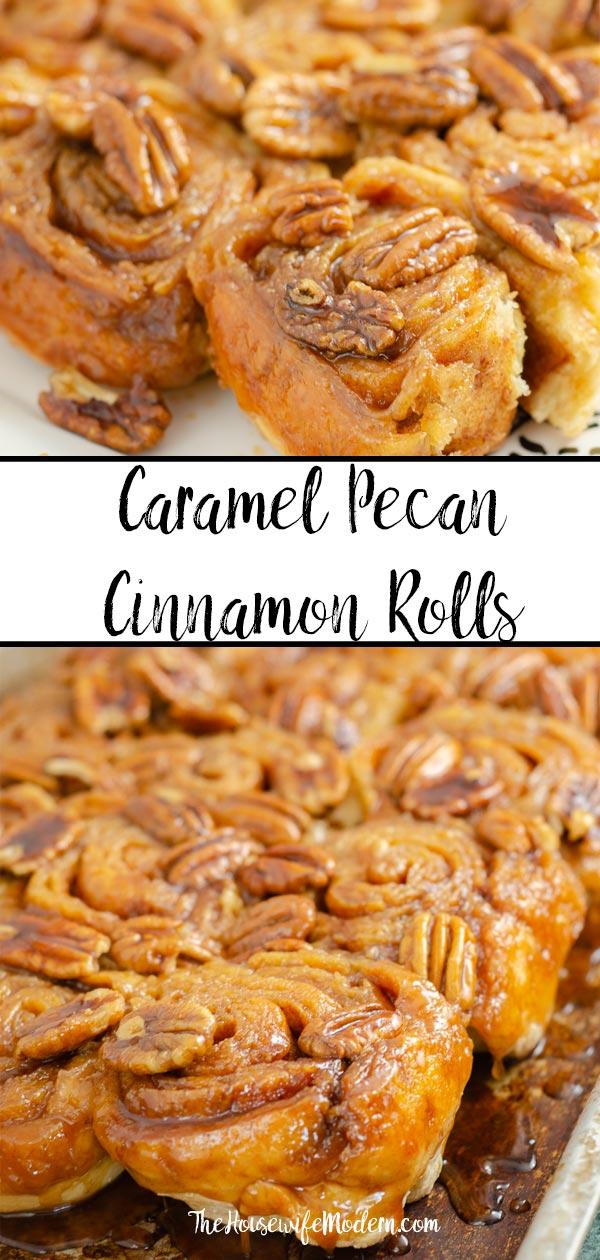 Pin image for caramel pecan cinnamon rolls.