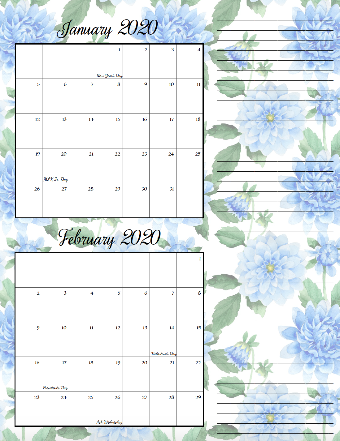 Floral theme January/February bimonthly calendar.