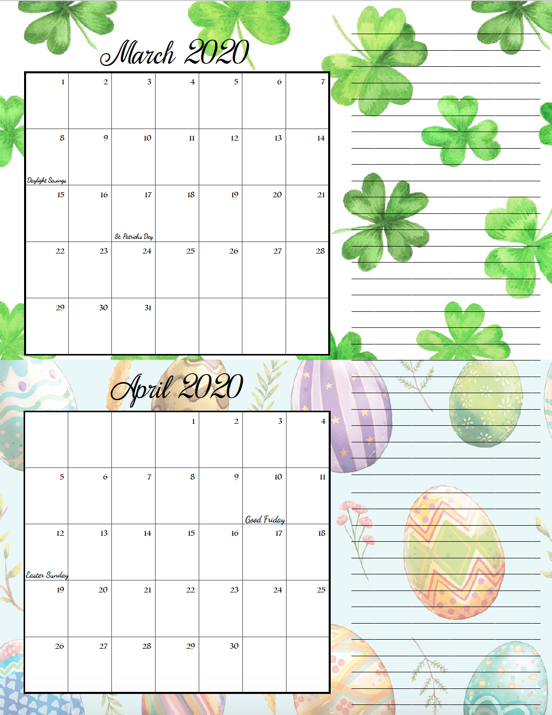 Holiday theme March/April bimonthly calendar.