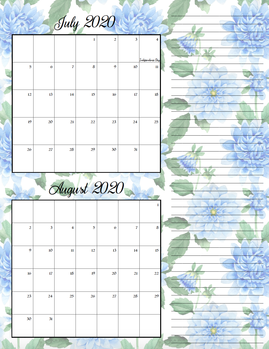 Floral theme July/August bimonthly calendar.