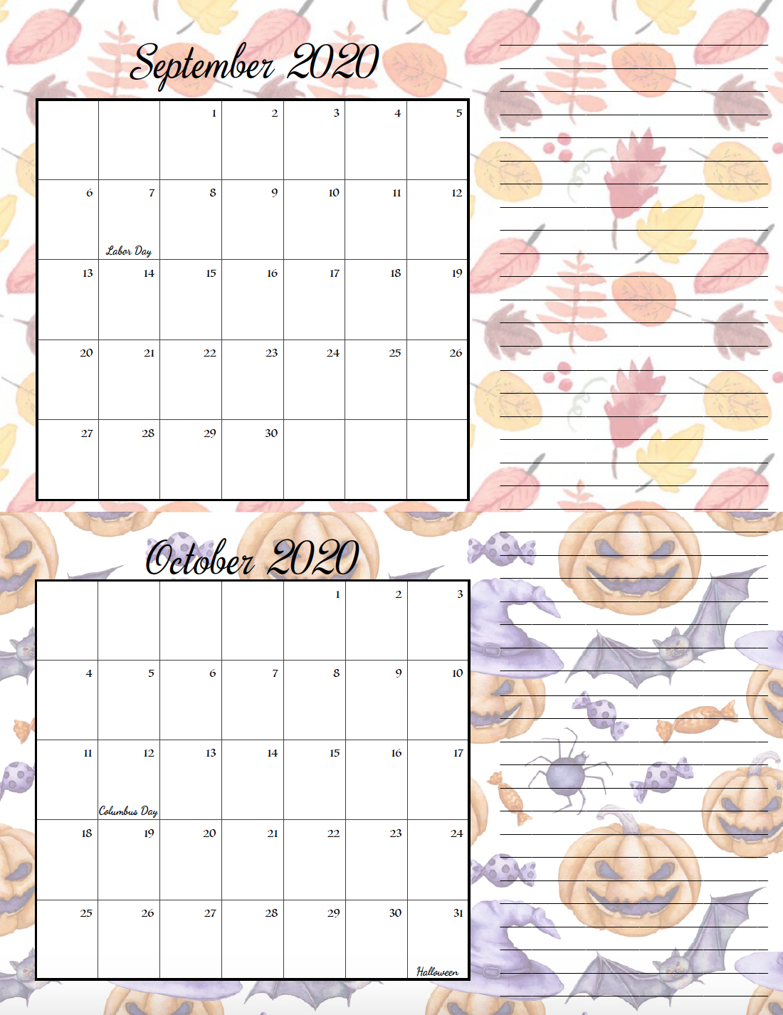 Holiday theme September/October bimonthly calendar.