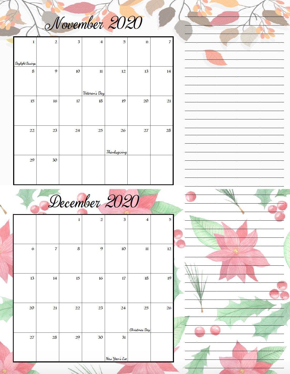 Holiday theme November/December bimonthly calendar.