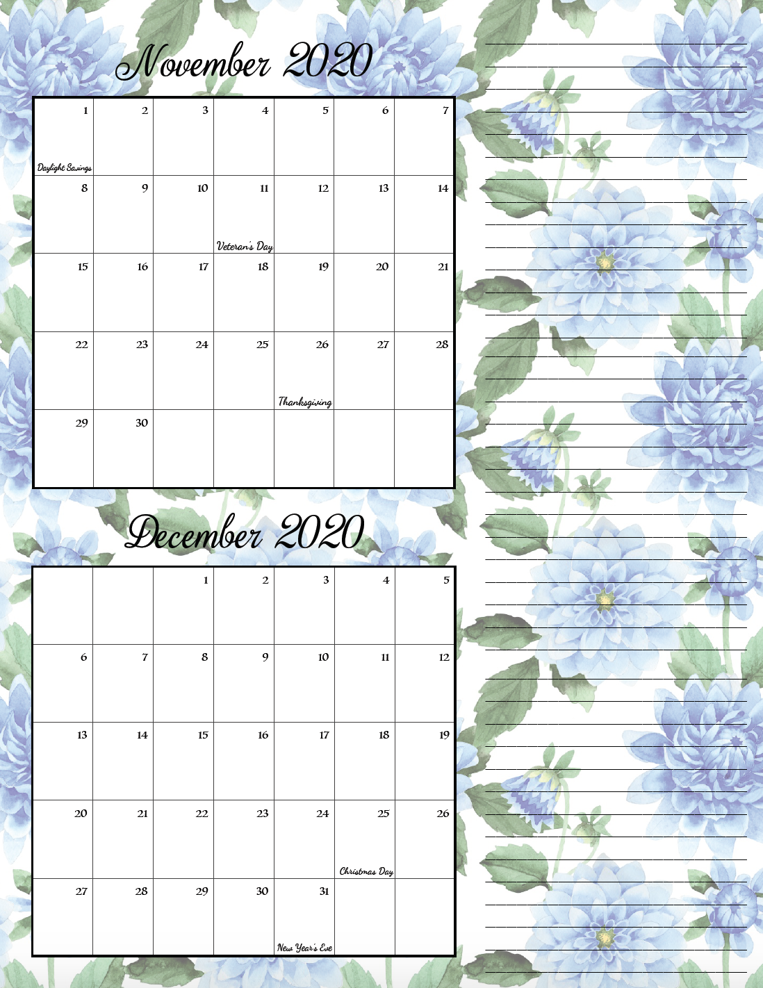 Floral theme November/December bimonthly calendar.