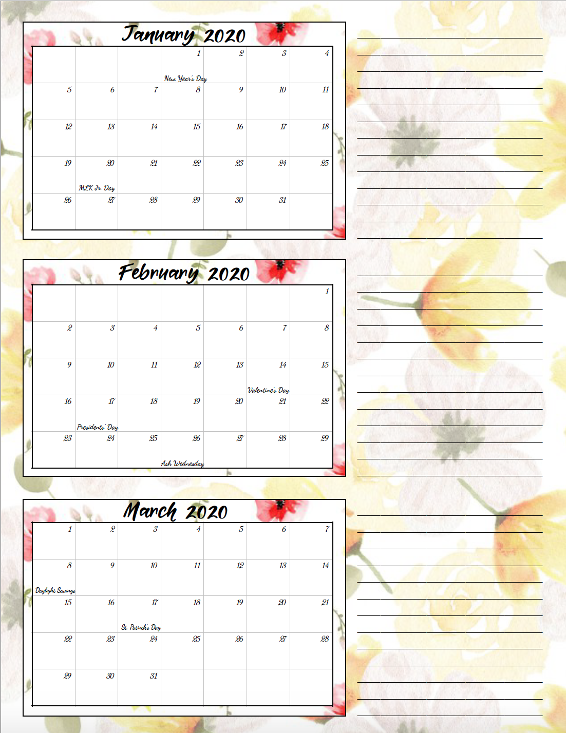 1st quarter lemon yellow and rose theme free printable 2020 calendar.