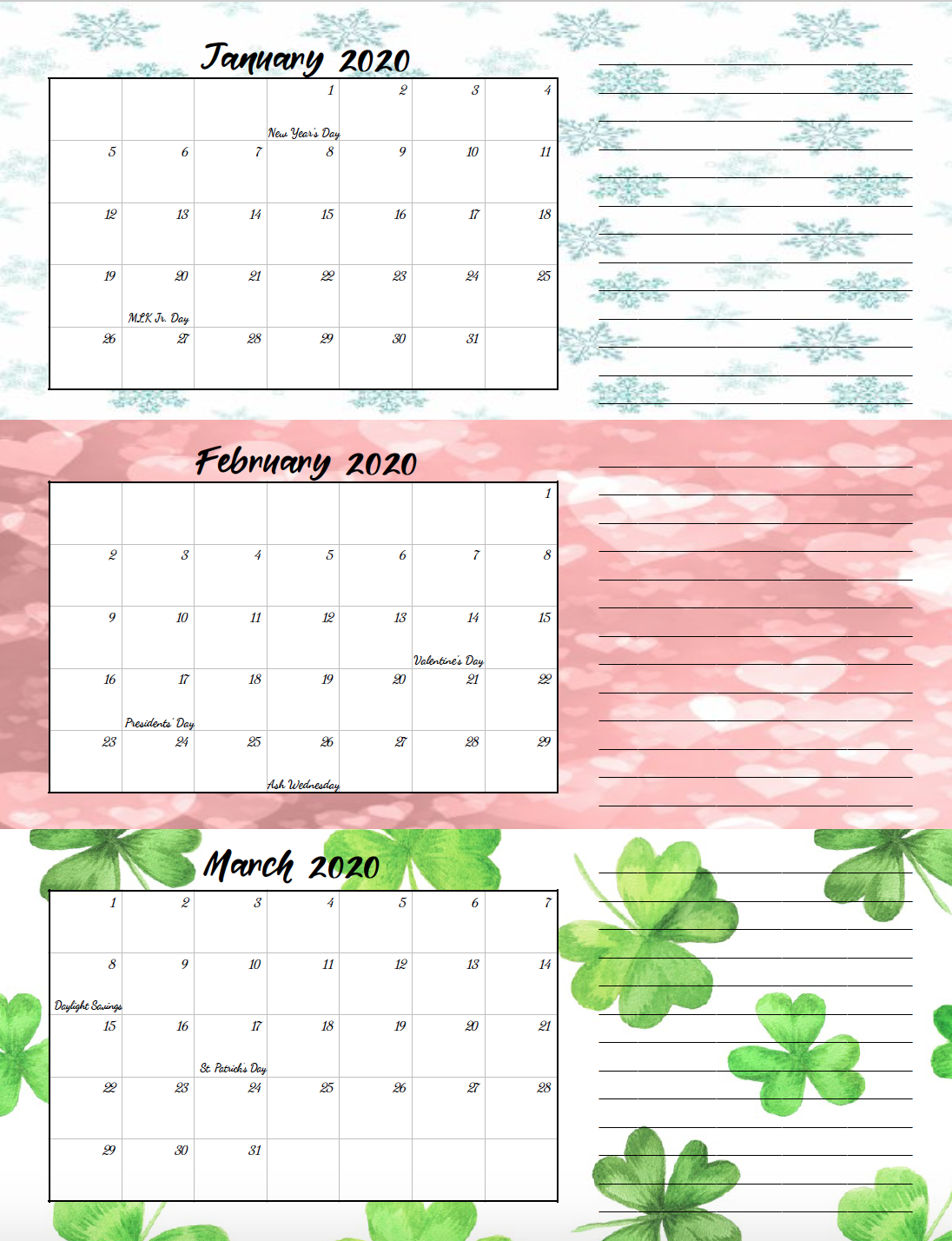 1st quarter holiday-theme free printable 2020 calendar.