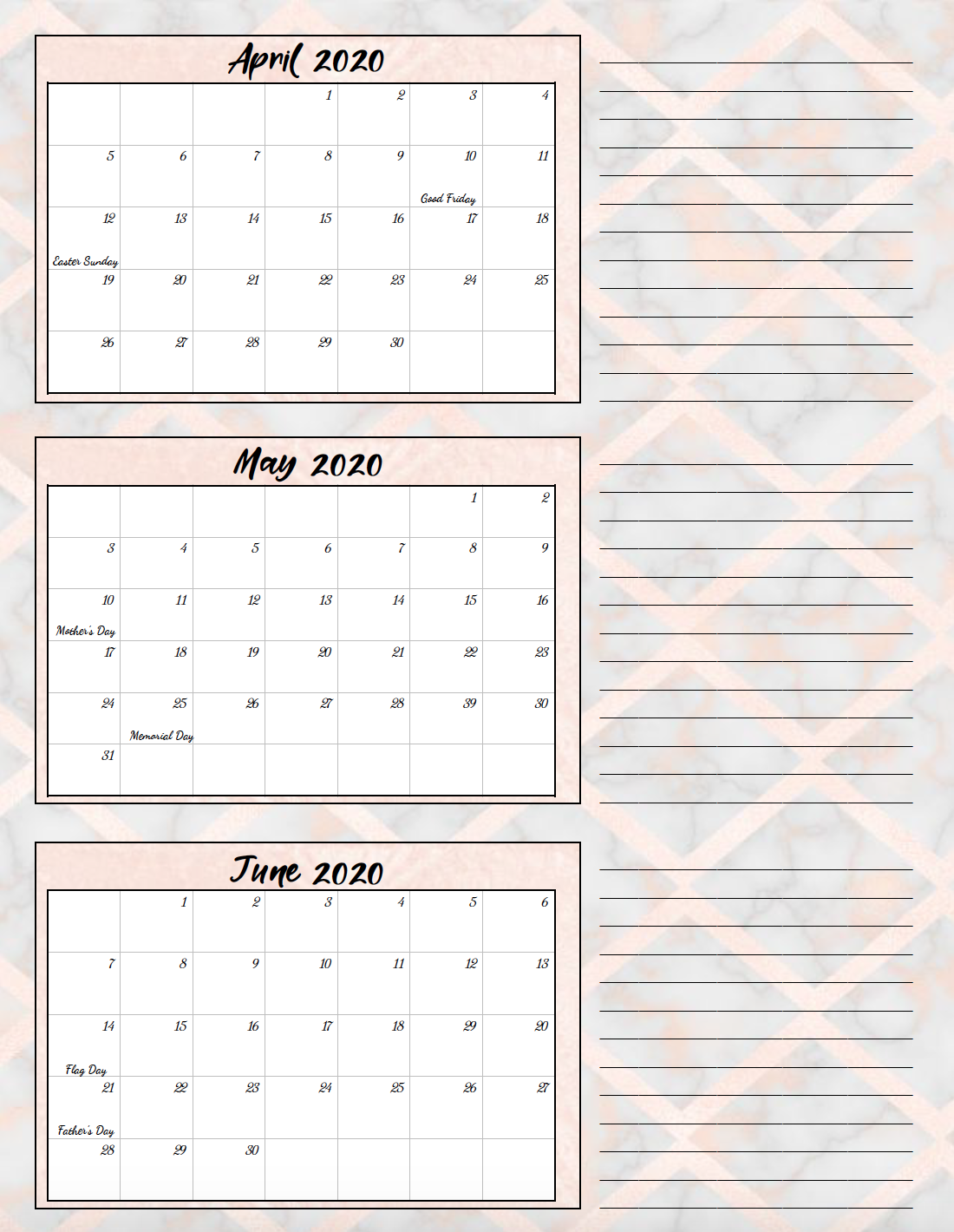 2nd quarter rose gold and gray theme free printable 2020 calendar.