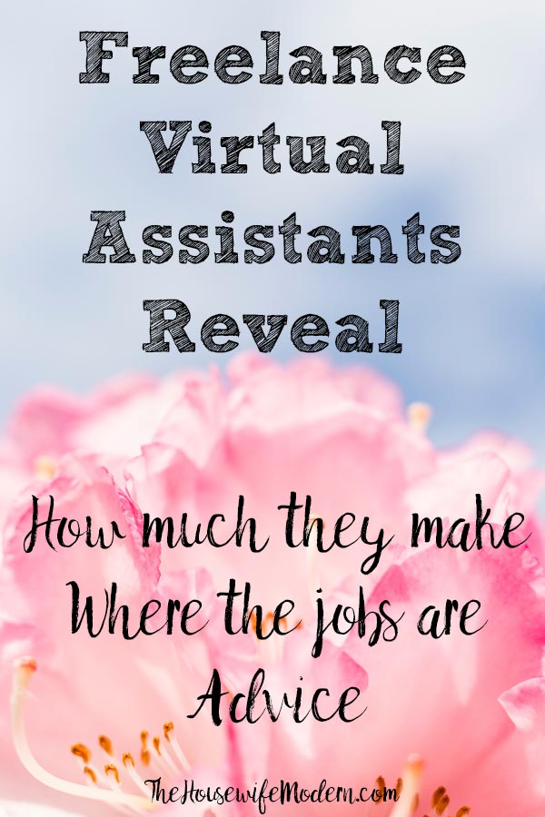 Pin image for virtual assistant jobs. Pink flower, blue background, text overlay.