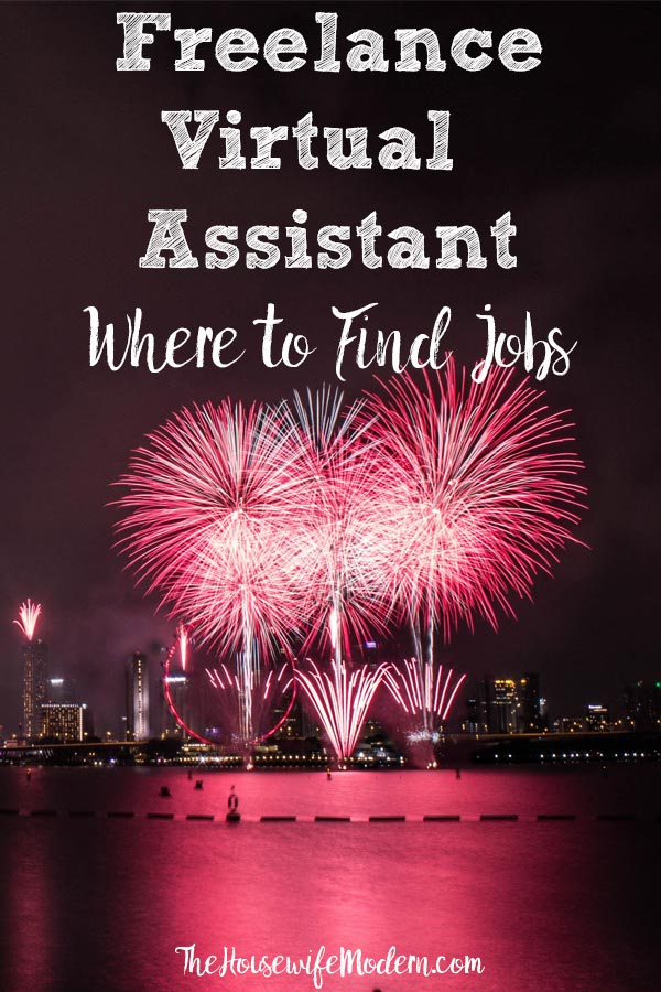 Pin image for freelance virtual assistant work. Pink fireworks on dark night with text overlay.