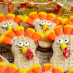 Horizontal close-up picture of nutter butter turkeys.